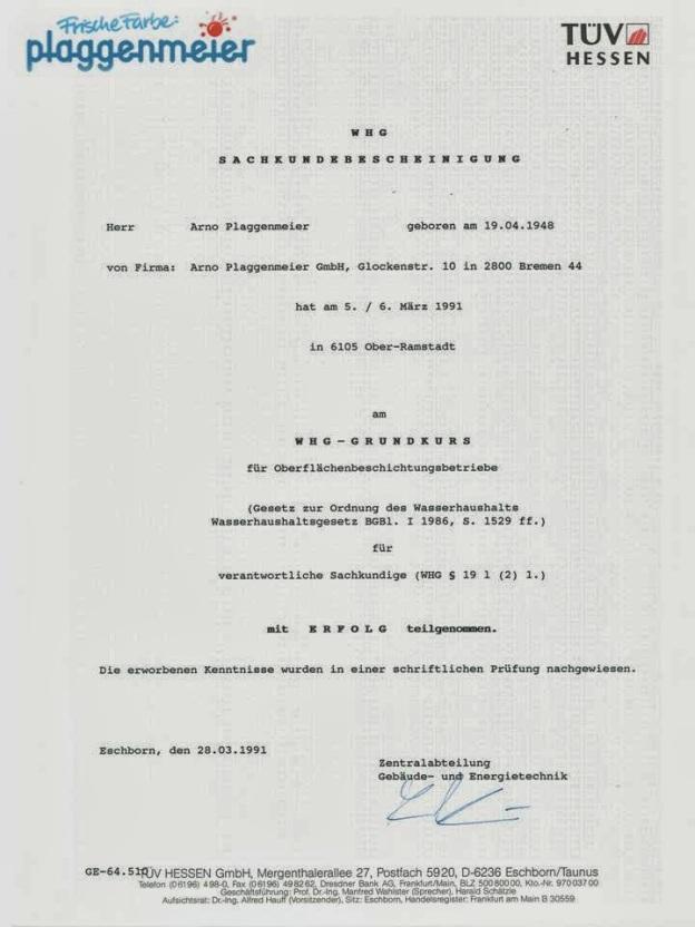 Gewässerschutz-Zertifikat