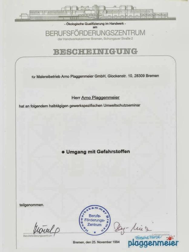 BFZ-Gefahrstofflehrgang-1994-Arno-Plaggenmeier-GmbH