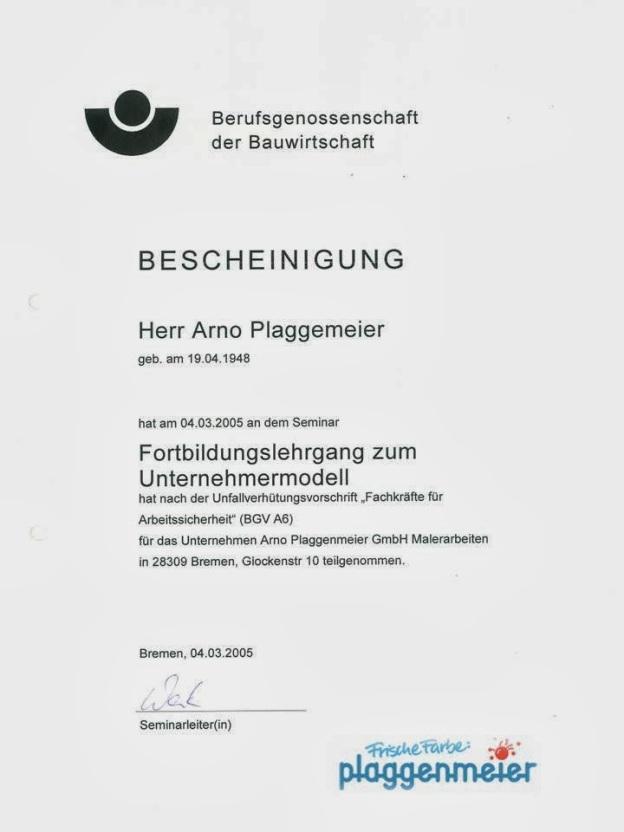 Chef-Zertifikat Arbeitssicherheit