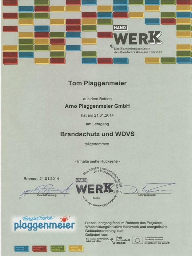 Brandschutz WDVS. Es gibt Pflicht und Kür. In Bremen gibt´s die Kür bei uns, dem Fachbetrieb für Vollwärmeschutz seit über 40 Jahren!