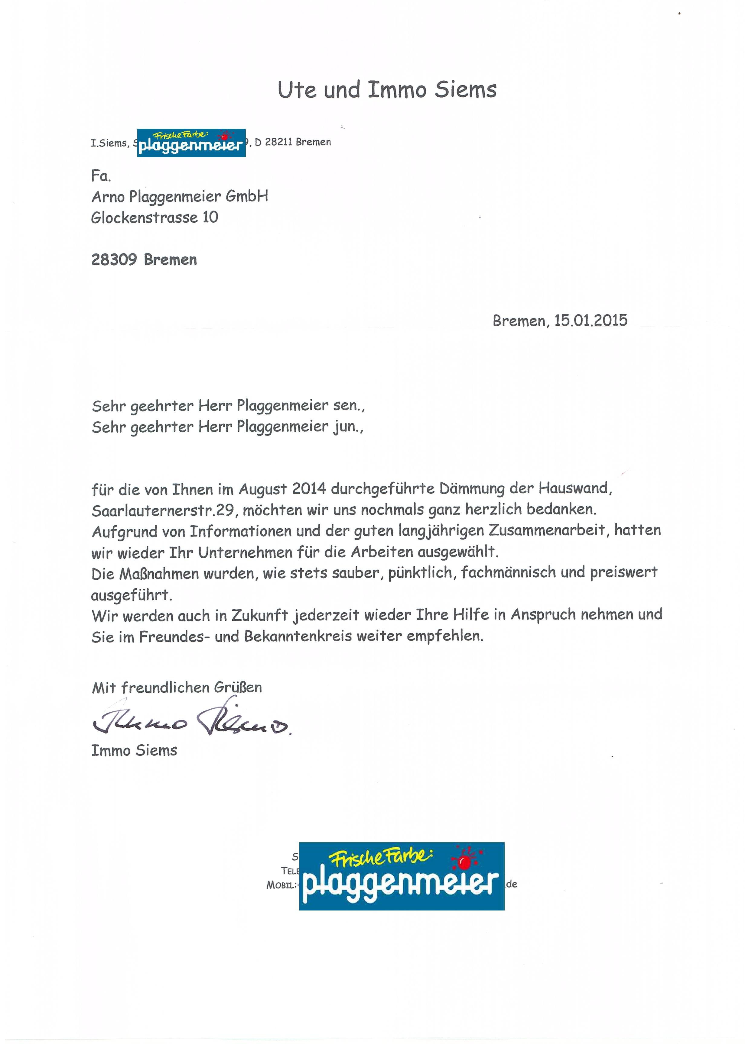 Feedback von einem treuen Kunden - Arno Plaggenmeier GmbH - Maler Bremen