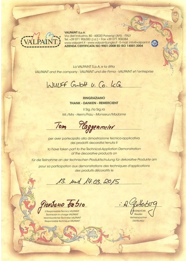 Insgesamt wurden 9 Valpaint Zertifikate für die Arno Plaggenmeier GmbH erteilt - wir sind der Valpaint Fachbetrieb in Bremen!
