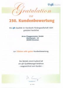 """Auszeichnung für Kundenzufriedenheit von der """"Qualität im Handwerk Fördergesellschaft"""""""
