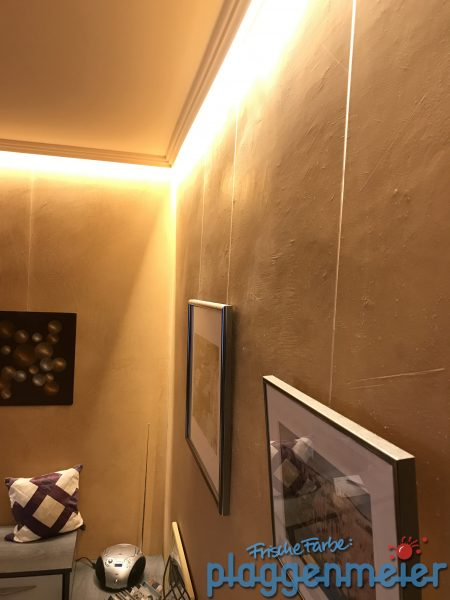 Wandgestaltung mit Volimea wirkt bei indirekter LED Beleuchtung besonders gut - Malereibetrieb aus Bremen: Plaggenmeier
