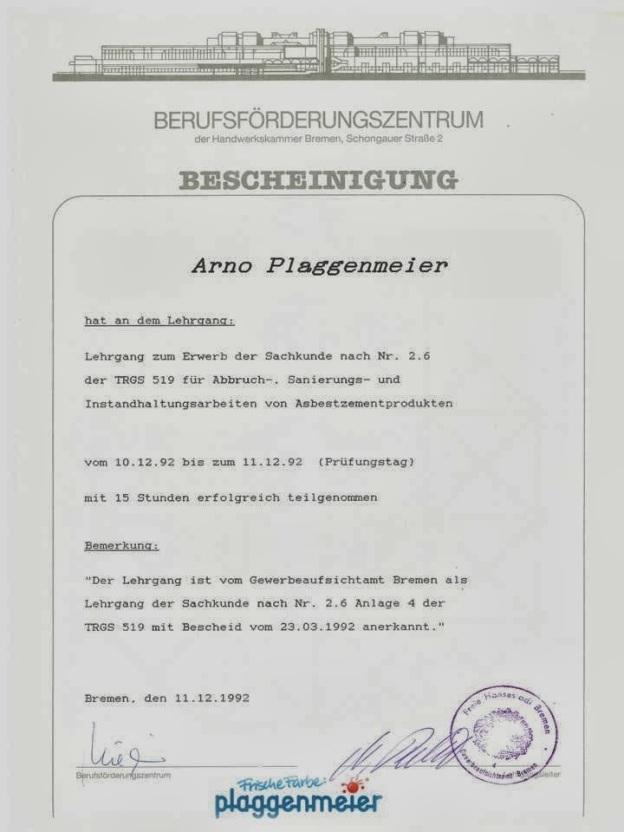 Asbest Zertifikat - Wir sind der Malereibetrieb, der sich kümmert.