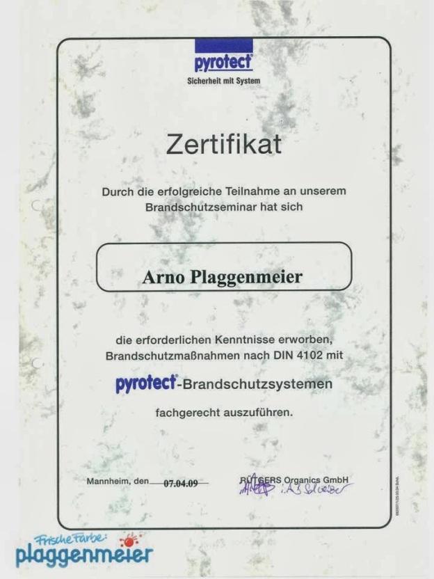 Zertifikat Brandschutz nach DIN 4102