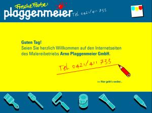Das finale Design der Homepage im Jahr 2004