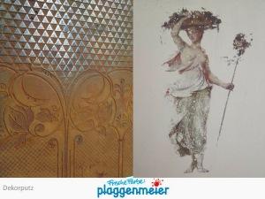 Zwei spezielle Innenputzvarianten - Prägung eines Rostreliefs und eingebrachtes Motiv im Vintage Stil von der Maler-Spezialfirma Arno Plaggenmeier GmbH