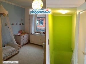 Der Wohnbereich hat durchgehend weissen Teppich, der aber sehr pflegeleicht ist.
