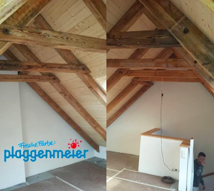 Steigende Mieten machen den Dachausbau immer attraktiver. Die vom Malerfachmann aufgearbeitete Holztreppe ist der Zugang!