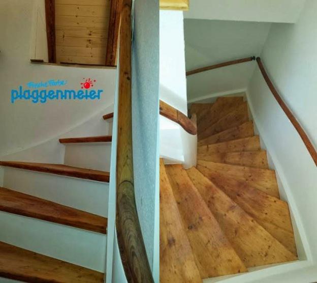 Perspektive auf die von uns rekonstruierte Holztreppe: die Kundin ist glücklich!