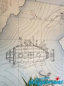 Die Nautilus von Jules Verne auf einer Fototapete - auf der Wand verewigt vom Maler in Bremen: Plaggenmeier