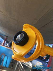 Lasermesspunkt für die Anhebung der Hochstraße - die Stahlkonstruktion erhielt unseren Korrosionsschutz