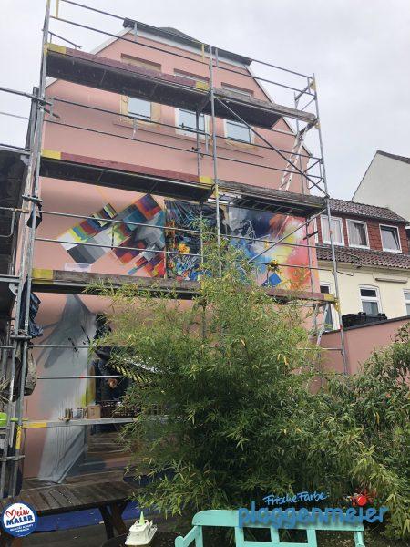 Der Künstler bei der Arbeit: nach unserem Fassadenanstrich als Grundlage hat Markus Genesius ein einmaliges Kunstwerk am Bau geschaffen.