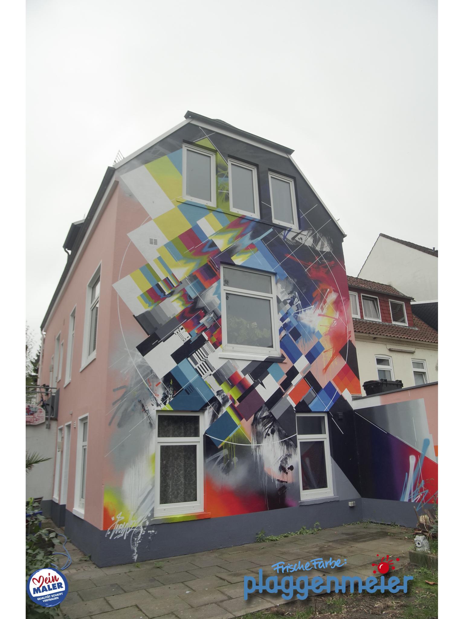 Testbildoptik - das zeichnet diesen Künstler aus. Von uns kam dann noch der transparente Überzug für langjährigen Schutz der Fassade - Profi Maler aus Bremen